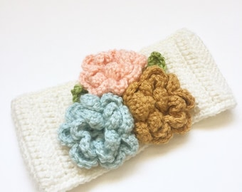 TODDLER EAR WARMER : cream with three flowers, crochet toddler ear warmer, headband with flowers