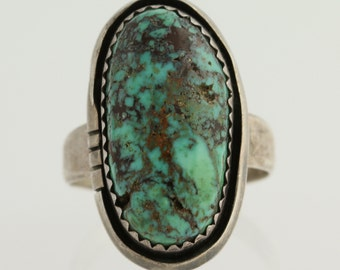 Native American Turquoise Ring - Sterling Silver Women's Size 9 3/4 L9316