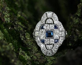 Art Deco Diamond & Synthetic Sapphire Cocktail Ring - Platinum Genuine 3.09ctw L4151 R
