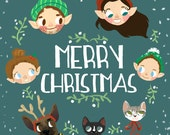 Custom Personalized Illustrated Christmas Card - Hand Drawn Digital File