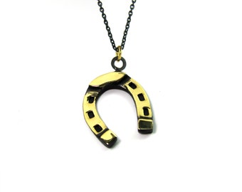 "Horseshoe Pendant - Large - Walter Bosse ""Black Gold"" Bronze Lucky Horse Shoe Necklace - 26"" Chain"