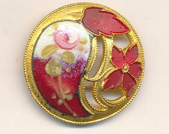 Antique Enamel Button - Red with Pink Rose ca. 1900