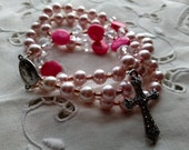 Pink Rosary, Valentine Rosary, Pink Valentine Rosary, FREE SHIPPING