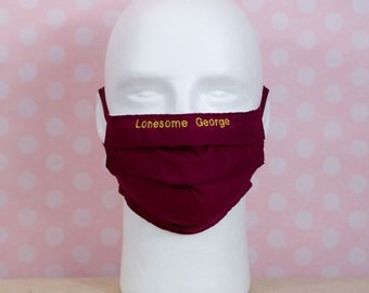 Washable Face Mask Solid Burgundy Maroon (embroidery is extra!)