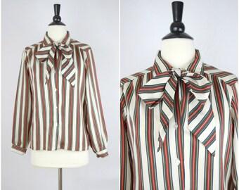 """Vintage """"royal colors"""" vertical stripes tie-neck blouse"""