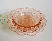 3 Pink Depression Glass Cereal Bowls Open Lace Old Colony Anchor Hocking Lace Edge Bowl 1930s