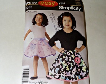 Simplicity Sewing Pattern 2083 Childrens Girls Skirts Size 3 4 5 6 7 8