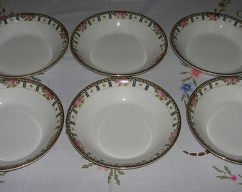 6 Vintage Mid Century Cleveland China Bridal Pattern Soup Cereal Bowls