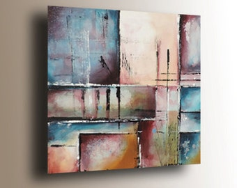 Abstract Art, Original Painting on Canvas, Contemporary Painting, Mauve & Blue Painting,Geometric Painting,Square Painting 24x24 Heather Day