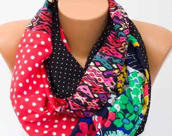 SALE -Summer Infinity scarf, cotton infinity scarf,multicolor  scarf,patchwork  scarf