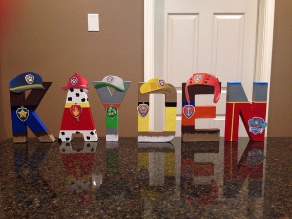 Paw patrol custom name letters price is per letter for Bedroom floor letra