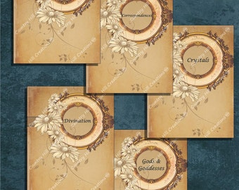 Book of Shadows divider pages digital download; printable Book of Shadows pages; Wiccan download; Wiccan printables, cone flower