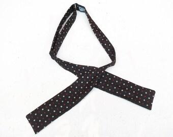 Vintage 1950s 1960s Mid Century Silk Bow Tie Bowtie. REd White Blue Polka Dots.
