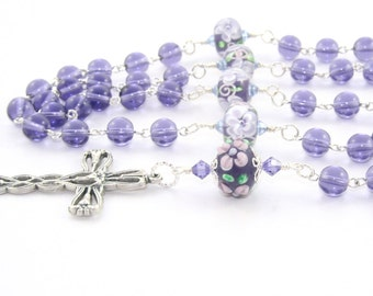 Blessed Mother Rosary, Beautiful Purple Glass Beads & Lily Cross