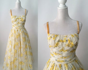 Vintage 1950s Yellow Floral Chiffon Dress by Frank Starr, Tea Length