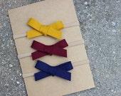Set of 3 {WILLOW} Headbands - Nylon Headbands - One Size Fits All - Mustard, Wine, Navy