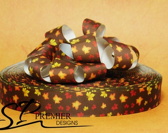 "7/8""  Fall Autumn Leaves Grosgrain Ribbon"