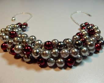 Red Gray Pearl Cluster Necklace, Christmas Valentines Mothers Day Gift, Mom Sister Bridesmaid Wedding Jewelry Gift
