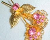 Vintage Pink Rhinestone Filigree Flower Brooch