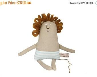 ON SALE 25% OFF Lion Plush Toy, Tiny Lion Stuffed Toy, Stuffed Animal Soft Sculpture, Miniature Lion, Orange, Jungle Creature, Embroidered A