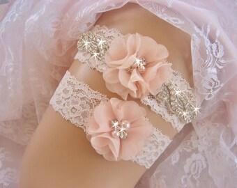 SUMMER SALE Vintage Bridal Garter Set,  Wedding Garter Set, Bridal Garter Set,  Lace Garter Set, Toss Garter included Ivory with Rhinestones