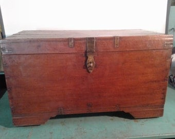 Antique wooden Indo-Portuguese Chest, circa 1800s chest, writing chest, wooden trunk, home decor,