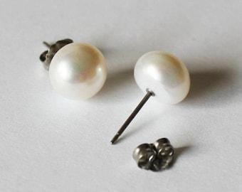 Large Titanium Pearl Stud Earrings, 9-10 mm AAA fresh water pearl studs, Hypoallergenic Titanium post earrings, for sensitive ears