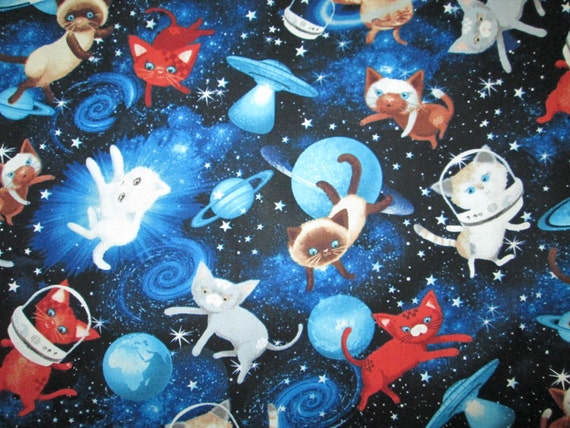 Cats space astronaut planets cotton fabric fat quarter or for Space kitty fabric