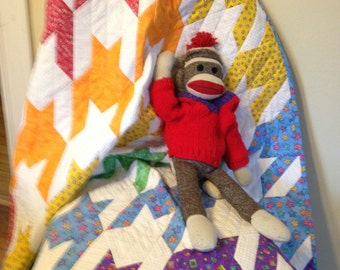 SALE!!  20% OFF  Rainbow Houndstooth Baby Quilt
