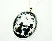 Best Friend Silhouette Necklace - black and white - a sweet gift for your best friend - twin sister - daughter - or just for yourself