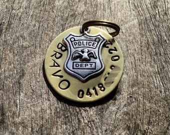 The Bravo (#127) - Pet Tag Unique Handstamped Police Antique Brass World Badge Pet ID Dog