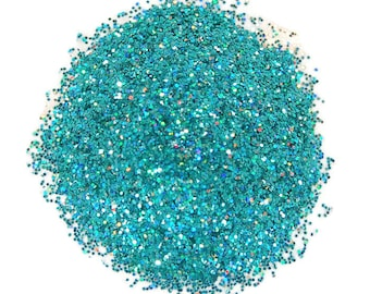 Rainbow Teal SOLVENT RESISTANT HOLOGRAPHIC Glitter 0.015 Hex - 1 Fl. Ounce for Glitter Nail Art, Glitter Nail Polish and Glitter Crafts