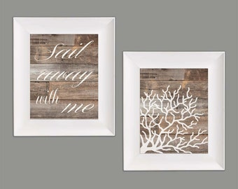 Sail Away with Me Coral Wall Art Paper Print Set
