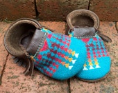 CUSTOM LISTING // Scout Baby Moccasin 12-18 month // Turquoise Pendleton Wool Brown Leather // Rosebud Originals