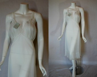 1950s Carters Sheer White Slip, 38, Large, Xtra Large, Pleated Wedding, New Old Stock