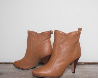 40% Off Sale 6.5 B | Honey Brown High Heel Ankle Booties