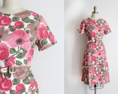 vintage 1960s dress // 60s floral cotton day dress with belt