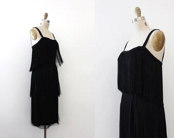 vintage 1950s Mardi Gras dress // 50s designer black tassel dress