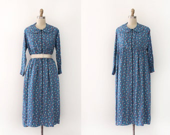 vintage 1930s dress // 30s floral rayon dressing gown