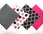 """48 Flannel Fabric Quilt Square Kit 6""""x6"""" Pre Cut Prints in Black, White and Grey and Pink"""