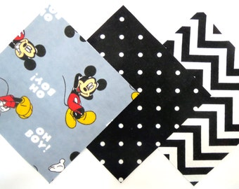 """36 Pre Cut Flannel 6""""x6"""" Squares in Disney Mickey, Black and White Polka Dot and Chevron Matching Prints"""