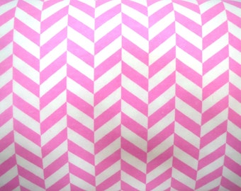 Flannel Fabric by the Yard in a Pink and White Up and Down Print 1 Yard