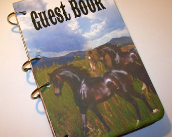 Guest Book, Horse Birthday, Western Party, Sign in Book, Cowboy Baby Shower Guest Book,  Rustic Party,  First Birthday