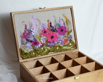 Decorative tea box Gift for mom Recites box Tea box Wooden tea box Tea storage  Tea bag boxT tea gift box Keepsake box Tea bag box Gift idea