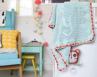 """Filet crochet baby blanket """"Dream big baby"""""""