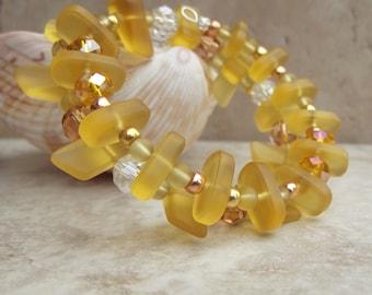 Yellow Sea Glass Bracelet:  Double Wrap Beaded Bracelet, Golden Autumn Jewelry