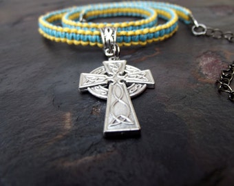 Silver Celtic Cross Necklace:  Men's Jewelry, Yellow and Blue Macrame Choker, Faith Jewelry, Inspirational Gift for Him