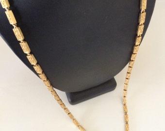 Vintage Signed Monet Gold Filigree Rectangular Link Long Chain Necklace