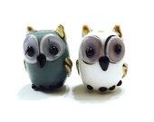 White, Gray Owl Lampwork Beads, Animal Lampwork, Bird Beads, 10 pieces