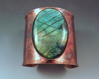 Emerald Labradorite- Rainbow Patina- One of a Kind- Metalsmithed- Statement Cuff- Copper Bracelet